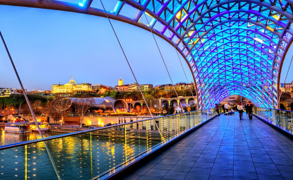 Georgia Annually Attracts More Than 7 Million. Photograph Tbilisi Bridge.